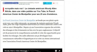 Presse - Woody Allen félicite le French American Center de Montpellier !