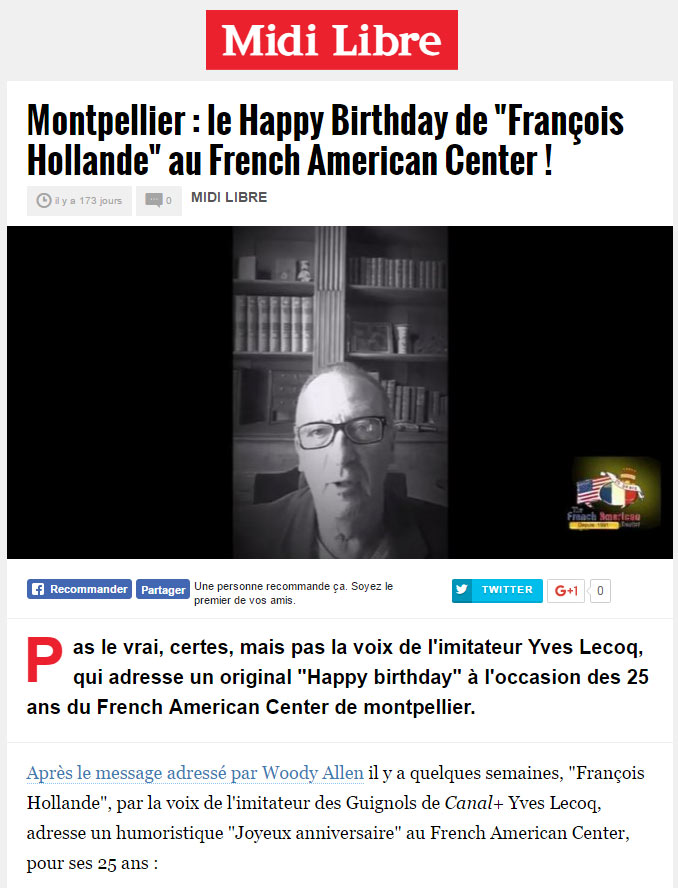 "Montpellier : le Happy Birthday de ""François Hollande"" au French American Center !"