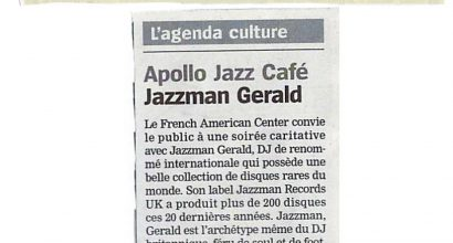 Presse - V-Day, Jazzman Gerald et le French American Center