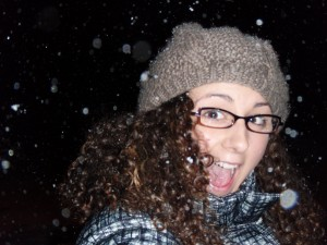 My first snowfall, as you can see, I love it!