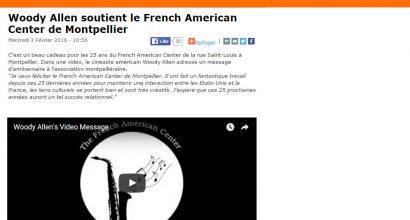 Presse - Woody Allen soutient le French American Center de Montpellier