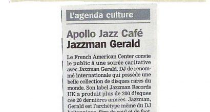 Presse - V-Day, Jazzman Gerald et le French American Center