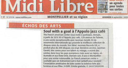 Presse - Le Midi Libre Parle de V-Day et le French American Center