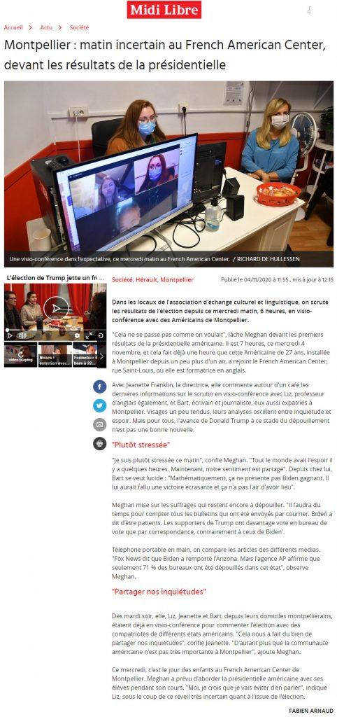 Montpellier : matin incertain au French American Center, devant les résultats de la présidentielle